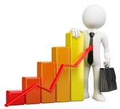 3D biały biznesmenów ludzie. Prętowy wykres Obraz Stock