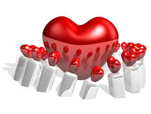 3d big heart and heart ornament as candle Stock Photo