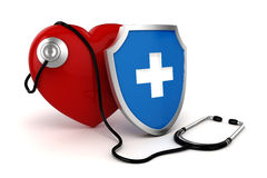 3d big red heart. Health and medicine concept Stock Photo