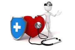 3d big red heart. Health and medicine concept Stock Photography