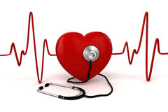 3d big red heart. Health and medicine concept Royalty Free Stock Image