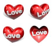 3d big red heart range four set Royalty Free Stock Photos