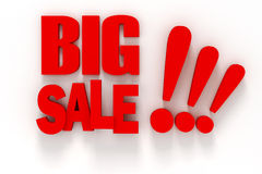 3d BIG SALE text. On white background Stock Image