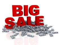 3d big sale and various percent. 3d illustration of red big sale word and heap of different percentage Stock Photo