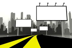 3d Billboard and road with city background Royalty Free Stock Images