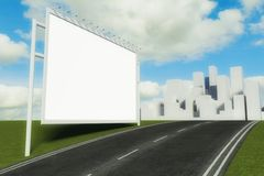 3d Billboard and road with city background Royalty Free Stock Photos