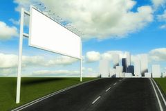 3d Billboard and road with city background Stock Images