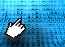 3D binary code on board with hand icon. 3d Abstract binary code with hand icon, symbol of technology Stock Photography