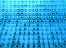 3D binary code on board of information. Tech background Stock Photos