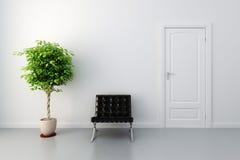 3d binnenland met witte deur en muren
