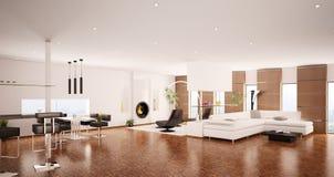 3d binnenland van moderne flat geeft terug royalty-vrije illustratie