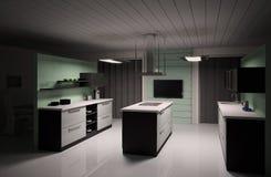 3d binnenland van moderne keuken geeft terug Stock Afbeelding