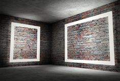 3d binnenlandse hoek met witte lege frames Stock Foto's