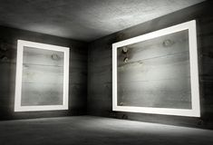 3d binnenlandse hoek met witte lege frames Royalty-vrije Stock Afbeelding