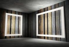 3d binnenlandse hoek met witte lege frames Royalty-vrije Stock Afbeeldingen