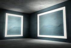 3d binnenlandse hoek met witte lege frames Royalty-vrije Stock Fotografie