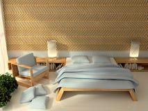 3d binnenlandse slaapkamer Royalty-vrije Stock Foto's