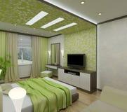 3D binnenlandse slaapkamers stock afbeelding