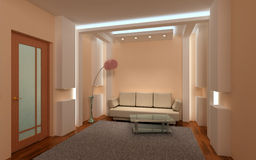 3D binnenlandse zitkamer. Stock Afbeelding