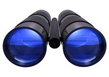3D Binoculars. With blue lenses on white isolated background Stock Photography