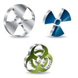 3d bio hazard buttons. 3d metallic bio hazard buttons Royalty Free Stock Images