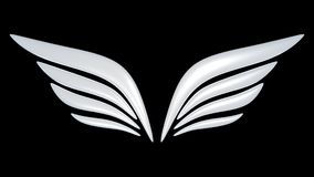 3d bird wing symbol. Isolated on white background Royalty Free Stock Image