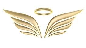 3d bird wing symbol. Isolated on white background Royalty Free Stock Photo