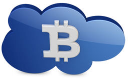 3d bitcoin with the cloud. On white background Stock Photos