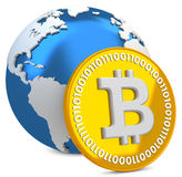 3d bitcoin with earth globe, global currency. On white background Royalty Free Stock Images