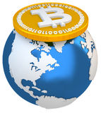 3d bitcoin with earth globe, global currency Stock Photography