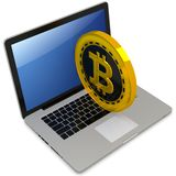 3d bitcoin with laptop computer. On white background Stock Image