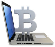 3d bitcoin with laptop computer. On white background Stock Images