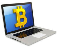 3d bitcoin with laptop computer Royalty Free Stock Photos