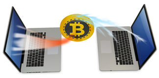 3d bitcoin with laptops exchanging currency. On white background Stock Photography