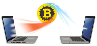 3d bitcoin with laptops exchanging currency. On white background Royalty Free Stock Image