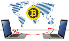 3d bitcoin with laptops exchanging global currency. On white background Stock Images