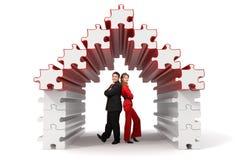 3d biznesowego domu partnerów łamigłówka Obraz Royalty Free