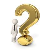 3d biznesowy złocisty mężczyzna oceny pytanie Zdjęcia Stock