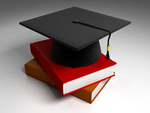 3D Black Graduation Cap & Books Royalty Free Stock Photography