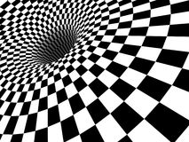 3D Black Hole Vortex. 3D computer generated image of a checkered black & white hole vortex Stock Images