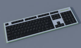 3D Black keyboard. 3D Black keys qwerty keyboard on gray background Royalty Free Stock Photos