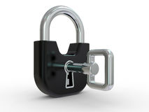 3d black lock with key Royalty Free Stock Photo