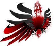 3D Black Red Fire Wings. Vector Illustration Royalty Free Stock Photo