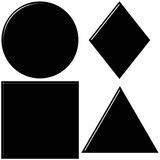 3d black shapes with reflection Royalty Free Stock Photography
