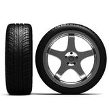 3d black tyres and alloy wheel Stock Images