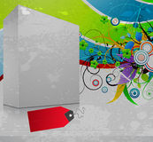 3d blanck box with grunge background Stock Photo