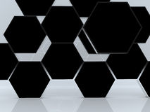 3D blank abstract black hexagon box display. New design aluminum frame template for design work, on white background Stock Photography