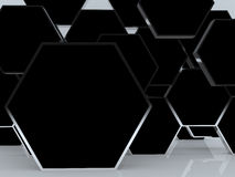 3D blank abstract black hexagon box display Royalty Free Stock Images
