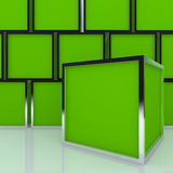 3D blank abstract green box display Stock Photos