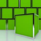 3D Blank Abstract Green Box Display Stock Photos